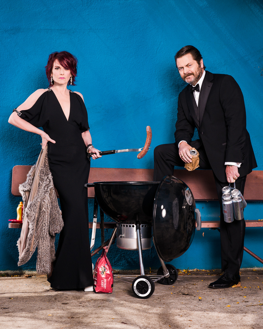 Megan Mullally and Nick Offerman photographed by Eric Schwabel